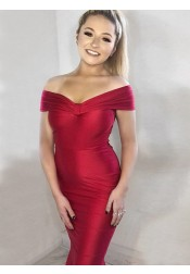 Mermaid Off-the-Shoulder Long Red Satin Prom Party Dress