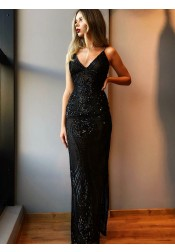 Sheath V-Neck Long Black Lace Prom Party Dress with Beading