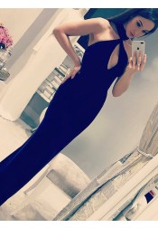 Sheath Halter Long Black Satin Prom Party Dress with Keyhole