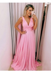 A-Line V-Neck Sweep Train Pink Chiffon Evening Prom Dress