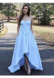 A-Line Sweetheart Light Blue High Low Satin Prom Dress with Appliques