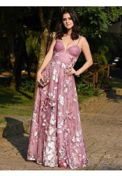 A-Line Spaghetti Straps Blush Lace Evening Prom Dress with Appliques