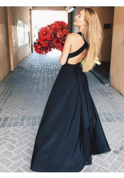 A-Line Deep V-Neck Open Back Long Black Prom Party Dress with Split