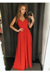 A-Line V-Neck Backless Floor Length Red Satin Prom Dress