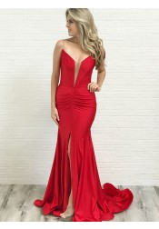 Mermaid Spaghetti Straps Low Cut Red Satin Prom Party Dress with Split