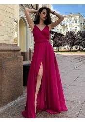 A-Line V-Neck Floor Length Sleeveless Red Satin Prom Dress with Split