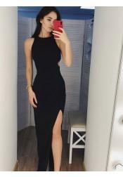 Sheath Round Neck Cut-out Black Satin Long Prom Dress with Split