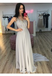 A-Line Round Neck Sweep Train Grey Chiffon Prom Party Dress with Appliques