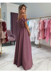 A-Line Cold Shoulder Purple Satin Prom Party Dress with Split
