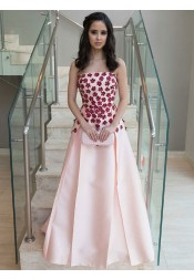 A-Line Strapless Pleated Pink Satin Prom Dress with Appliques