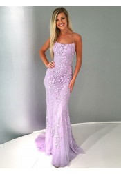 Mermaid Spaghetti Straps Lilac Tulle Prom Evening Dress with Appliques