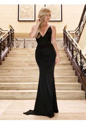 Mermaid V-Neck Sweep Train Black Satin Prom Evening Dress