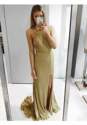 Sheath Halter Backless Sweep Train Gold Prom Party Dress with High Split