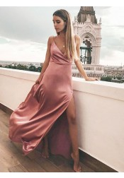 Sheath V-Neck Floor Length Pink Satin Prom Party Dress with Split