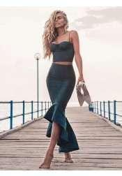 Two Piece Mermaid Spaghetti Straps Dark Green Prom Party Dress