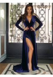 A-Line V-Neck Sweep Train Blue Velvet Prom Evening Dress with Split
