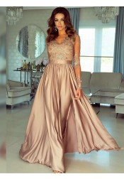 Elegant V-Neck Champagne Long Sleeves Split Champagne Floor-Length Prom Party Dress with Appliques