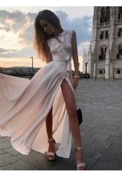 Simple Pearl Pink Chiffon Split Sleeveless Prom Evening Dress