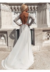 Modest Grey Long Sleeves Backless Prom Evening Dress with Pearls