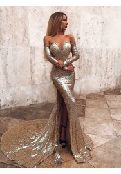 Mermaid Off Shoulder Long Sleeves Gold Prom Evening Dress with Sweep Train