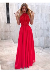 Elegant Red Chiffon Ruched Sleeves Long Prom Party Dress
