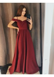 Decent Cold Shoulder Burgundy Long Prom Evening Dress