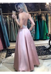 Sparkle Halter Pink Backless Prom Dress with Pockets