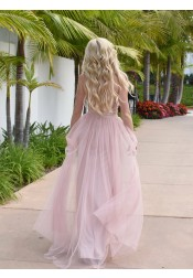Modest Plunging Neckline Pink Backless Prom Evening Dress