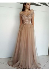 Glamour Off Shoulder Champagne Prom Evening Dress with Beaded