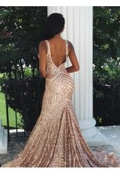 Modest Mermaid V-neck Sleeveless Rose Gold Backless Sequined Prom Dress