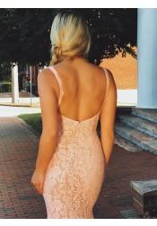 Mermaid V-neck Sleeveless Pink Lace Backless Prom Dress Beaded