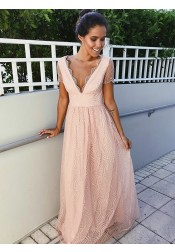 Glamour V-neck Pink Short Sleeves Floor-Length Lace Prom Evening Dress