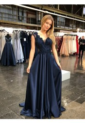 Modest V-neck Cap Sleeves Sweep Train Navy Prom Party Dress with Appliques