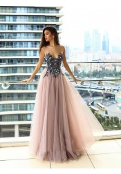 Delicate Illusion Round Neck Blush Prom Dress with Appliques Beading