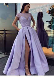 Glamour Jewel Cap Sleeves Split Lavender Prom Dress with Beading