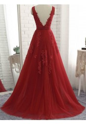 Timeless Red V-neck Sleeveless Sweep Train Backless Prom Evening Dress