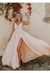 c70404c974d32 Modest V-neck Sleeveless Split Pink Backless Floor-Length Prom Evening Dress  ...