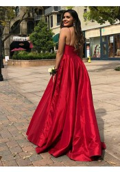 Modest V-neck Sleeveless Sweep Train Burgundy Prom Dress