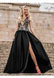 Generous Scoop Sleeveless Black Split Prom Dress with Appliques