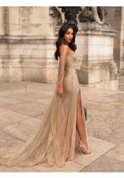 Exquisite Off Shoulder Long Sleeves Champagne Split Sequins Prom Party Dress