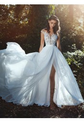 A-line White Illusion Neck Split Cap Sleeves Chiffon Prom Evening Dress with Appliques