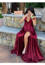 Elegant Halter Sleeveless Burgundy Split Sweep Train Backless Prom Evening Party Dress