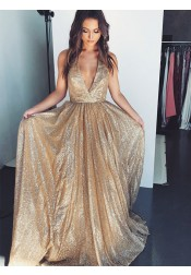 Fancy A-line V-Neck Sleeveless Sequined Champagne Prom Evening Party Dress