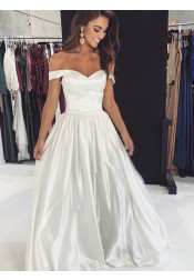 Elegant A-line Off Shoulder White Floor-Length Prom Party Evening Dress