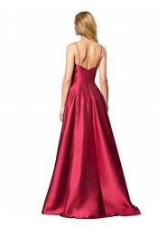 Elegant Spaghetti Straps Burgundy Floor-Length Prom Evening Dress with Pockets