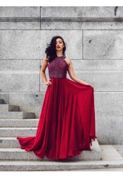 Modest Dark Red Scoop Sleeveless Chiffon Floor-Length Prom Party Dress with Beading