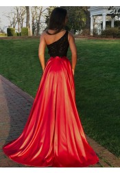 Two-Pieces A-line Red One Shoulder High Leg Split Sweep Train Prom Dress with Lace Top
