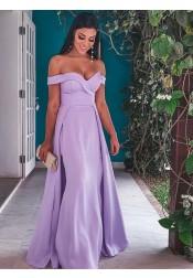 Elegant Off Shoulder Lavender Floor-Length Prom Evening Dresses with Detachable Train