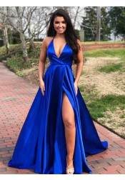 Modest A-line Royal Blue V-neck Sleeveless Side High Leg Split Sweep Train Prom Evening Dress