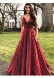 A-line V-neck Spaghetti Straps Floor-Length Burgundy Prom Party Dresses